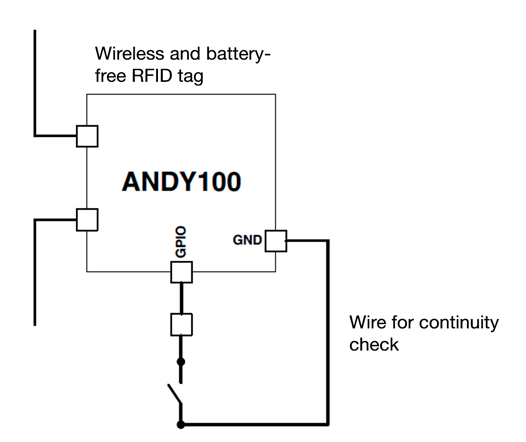 Schematic of continuity check solution with X1 RFID tag