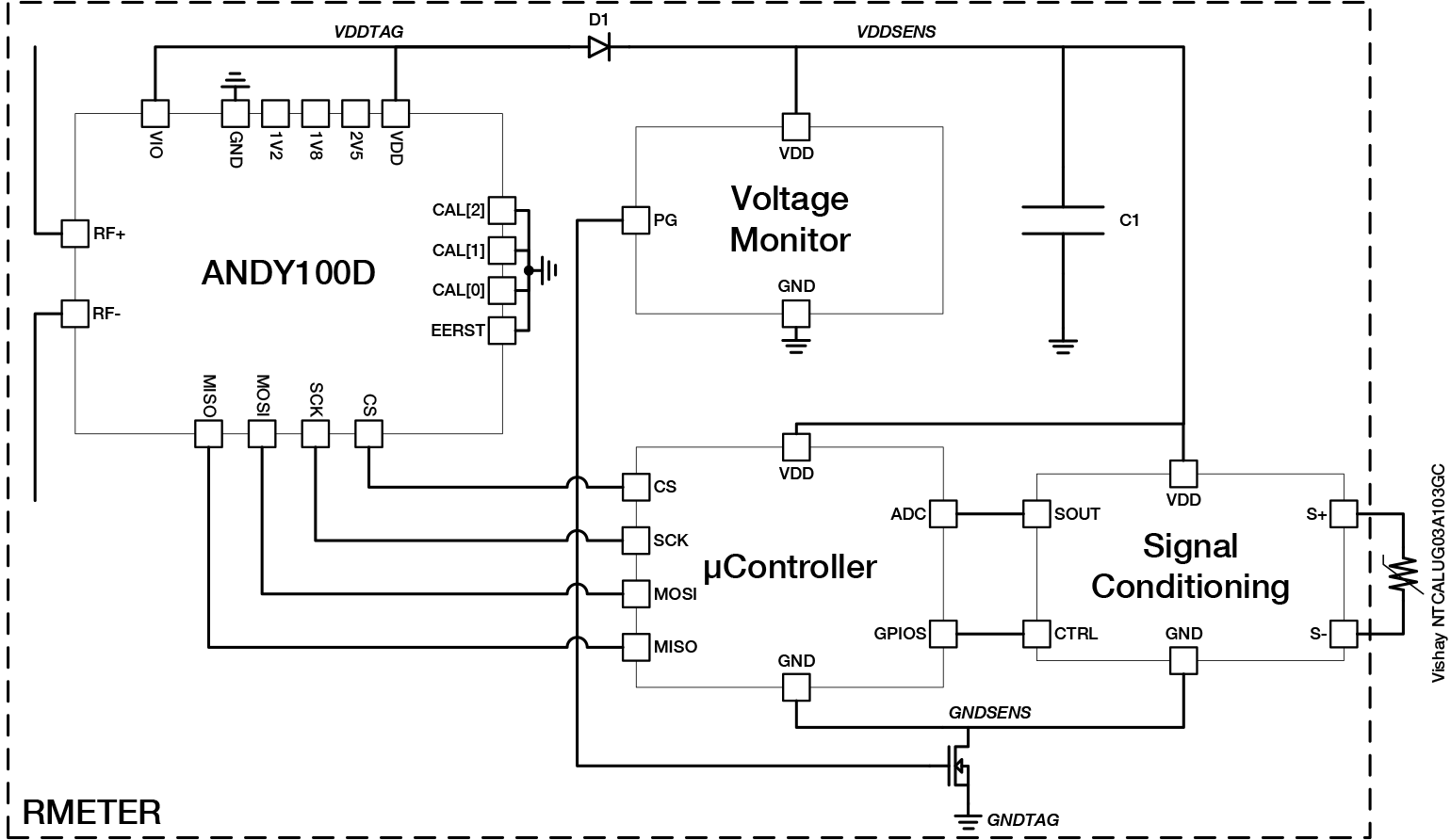 Rfid Tag Chip With Spi I2c Communication Master Vs Slave Passive Circuit Diagram Near Field Pyros 03gc Schematic Andy100 A Microcontroller And Thermistor